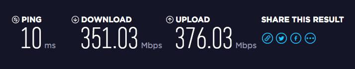 有線LANのスピードテストの結果